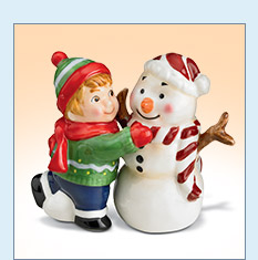 Snowman and Child Salt and Pepper Shakers